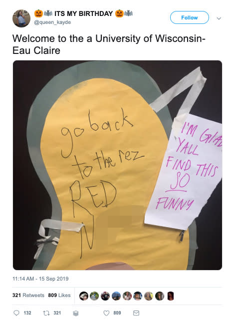 Kayde Langer, who identifies as a Red Lake Ojibwe, found a racist note left on her college dormitory door. (Credit: Wisconsin Public Radio/Twitter)