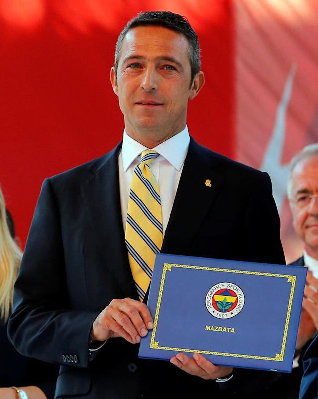Businessman Ali Koc, newly elected chairman of Turkish club Fenerbahce, is seen during a ceremony at Sukru Saracoglu Stadium in Istanbul, Turkey June 5, 2018. Picture taken June 5, 2018. REUTERS/Huseyin Aldemir