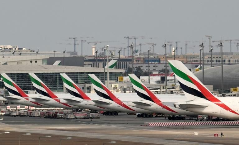 Emirates aircraft grounded at Dubai International Airport after the UAE suspended all passenger operations due to the coronavirus pandemic (AFP Photo/KARIM SAHIB)
