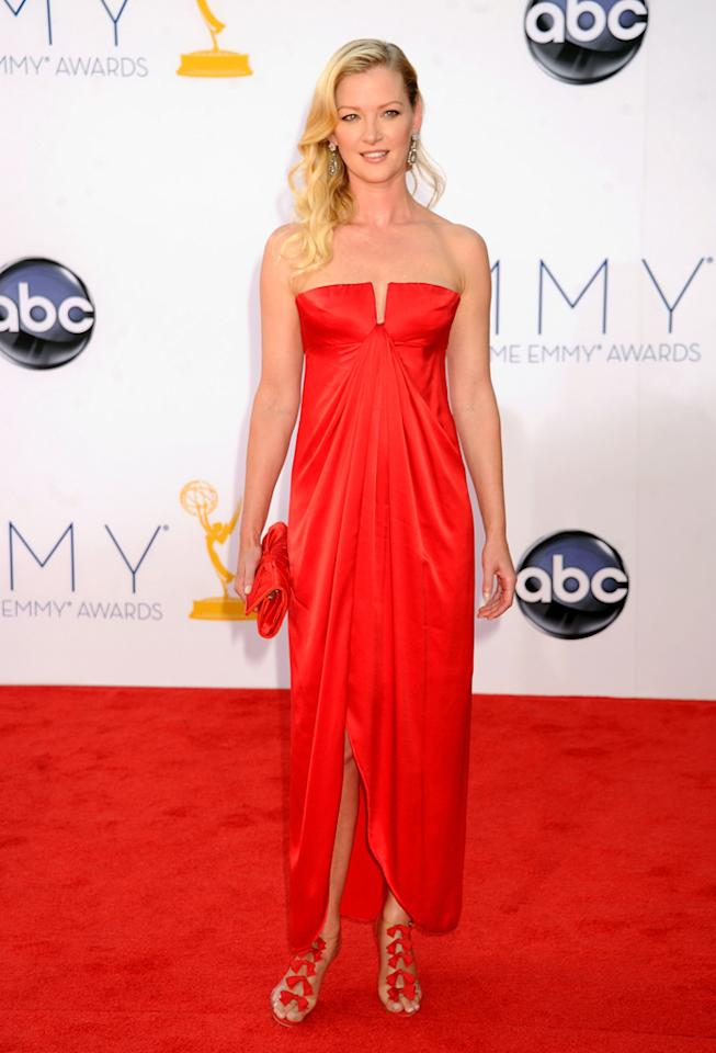 Gretchen Mol arrives at the 64th Primetime Emmy Awards at the Nokia Theatre in Los Angeles on September 23, 2012.