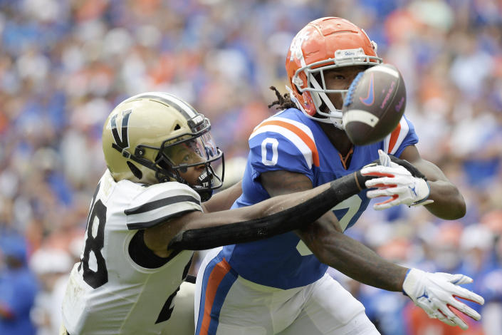 Vanderbilt cornerback Allan George (28) defends against a pass thrown to Florida wide receiver Ja'Quavion Fraziars (0) during the first half of an NCAA college football game, Saturday, Oct. 9, 2021, in Gainesville, Fla. George was called for pass interference on the play. (AP Photo/Phelan M. Ebenhack)