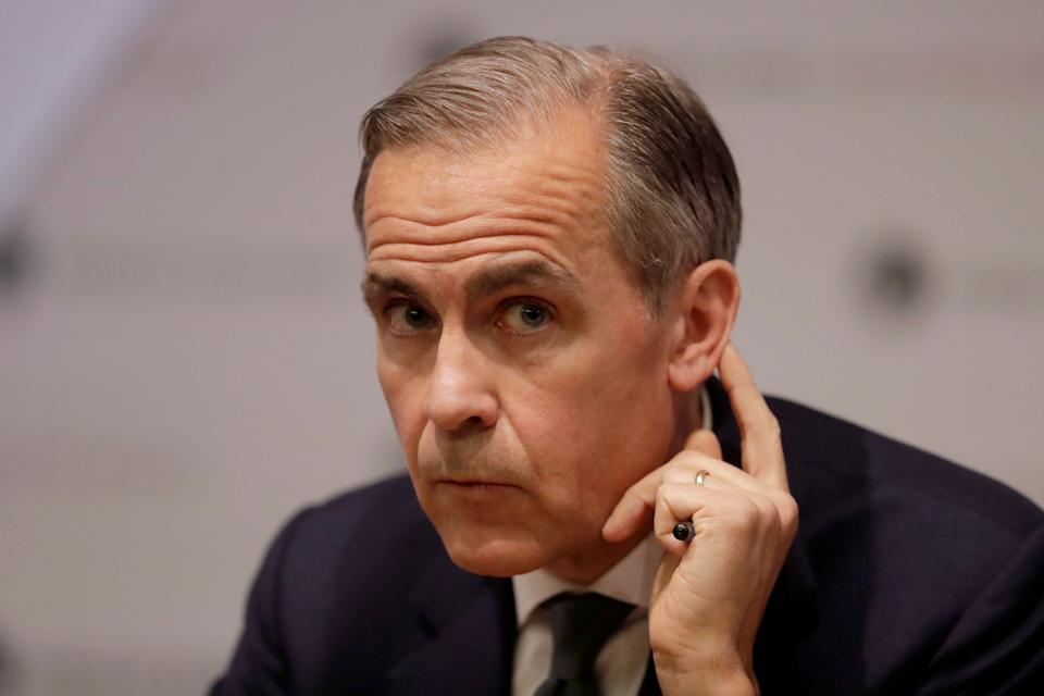 Mark Carney, Governor of the Bank of England speaks during an Inflation Report press conference at the Bank of England in London on  May 2, 2019. - The British economy is likely to weaken in the near-term as firms ease up on Brexit preparations now that Britain's Brexit departure from the European Union has been delayed by months, the Bank of England said today. (Photo by Matt Dunham / POOL / AFP)        (Photo credit should read MATT DUNHAM/AFP/Getty Images)