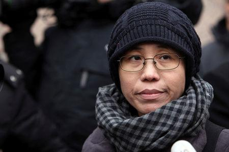 FILE PHOTO - Liu Xia, the wife of Chinese dissident Liu Xiaobo, talks to the media in Beijing