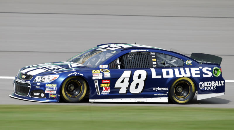 Driver Jimmie Johnson takes a lap during practice for Sunday's NASCAR Sprint Cup series auto race at Kansas Speedway in Kansas City, Kan., Friday, Oct. 4, 2013. (AP Photo/Colin E. Braley)