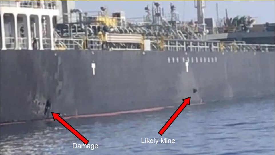 The images show what the U.S. military believes is an unexploded magnetic mine attached to the hull of the tanker M/T Kokuka Courageous following the attack on Thursday, June 13, 2019 in the Gulf of Oman. | U.S. Central Command