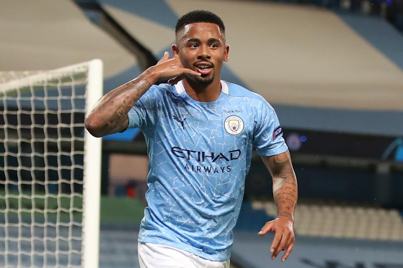 Manchester City's Brazilian striker Gabriel Jesus celebrates scoring his team's second goal during the UEFA Champions League round of 16 second leg football match between Manchester City and Real Madrid at the Etihad Stadium in Manchester, north west England on August 7, 2020. (Photo by Nick Potts / POOL / AFP) (Photo by NICK POTTS/POOL/AFP via Getty Images)