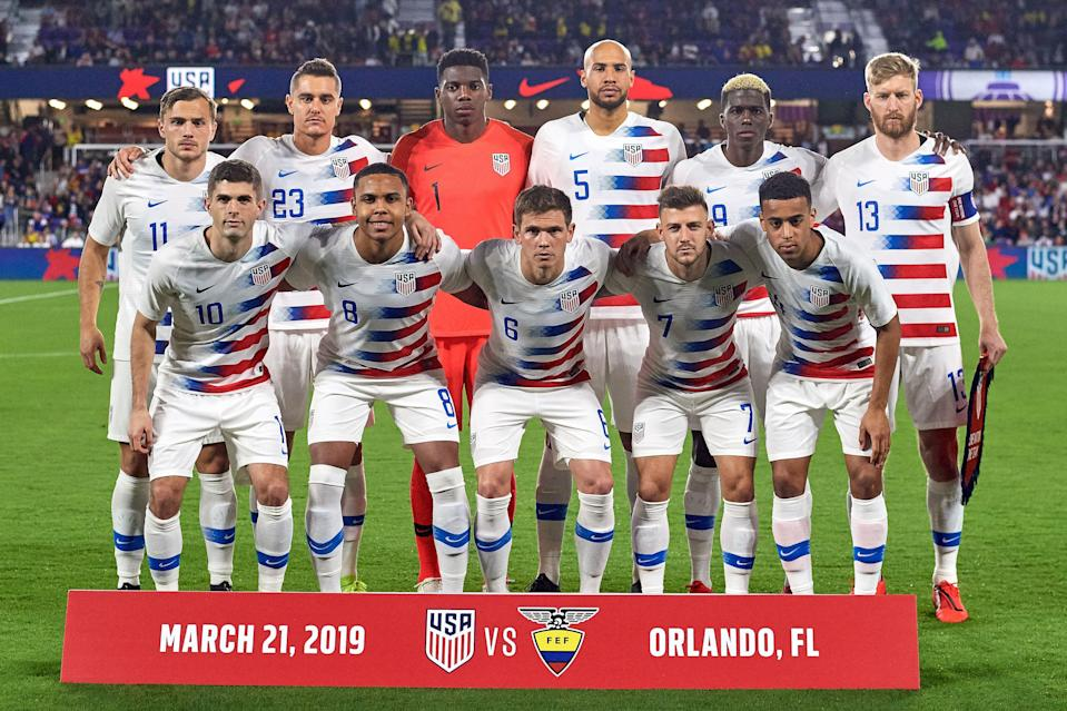 ORLANDO, FL - MARCH 21: United States starting XI consisting of (back row) United States forward Jordan Morris (11), United States defender Aaron Long (23), United States goalkeeper Sean Johnson (1), United States defender John Brooks (5), United States forward Gyasi Zardes (9), United States defender Tim Ream (13), (front row) United States midfielder Christian Pulisic (10), United States midfielder Weston McKennie (8), United States midfielder Wil Trapp (6), United States forward Paul Arriola (7) and United States midfielder Tyler Adams (14) pose for a photo prior to game action during an International friendly match between the United States and the Ecuador men's national teams on March 21, 2019 at Orlando City Stadium in Orlando, FL. (Photo by Robin Alam/Icon Sportswire via Getty Images)