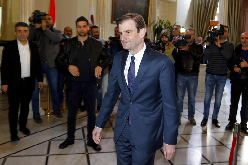David Hale, U.S. Under Secretary of State for Political Affairs, arrives at the Lebanese foreign ministry to meet with Lebanese Foreign Minister Gibran Bassil, in Beirut, Lebanon, Monday, Jan. 14, 2019. Hale is in Beirut to meet with Lebanese officials amid a domestic political crisis over ongoing government vacuum and tensions along the southern border with Israel. (AP Photo/Bilal Hussein)