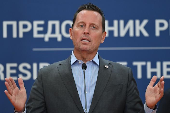 Richard Grenell, a special envoy appointed by President Donald Trump, speaks during a joint press conference with Serbian President Aleksandar Vucic after their meeting at the Serbia Palace in Belgrade, on Sept. 22, 2020.