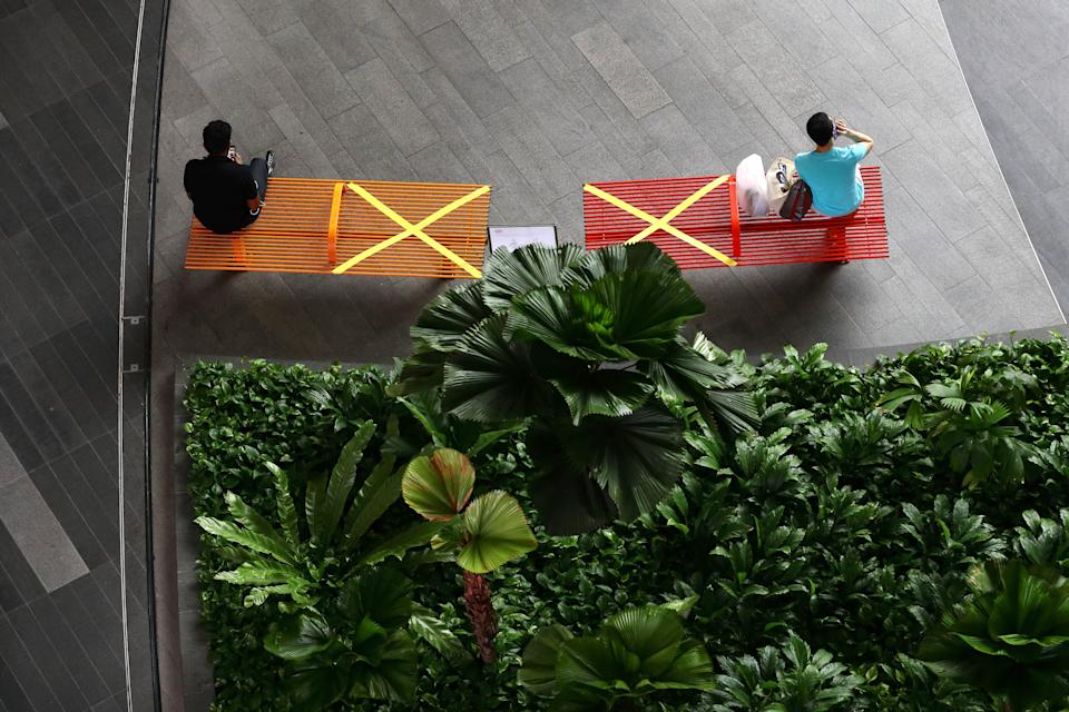 """""""X"""" marks the spot: People in Singapore practicing social distancing last month. (Photo: Suhaimi Abdullah/Getty Images)"""