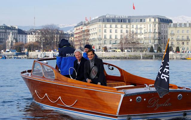 REFILE - ADDING DROPPED LETTER Bjorn Borg and Roger Federer pose aboard a boat during a promotion event for the Laver Cup tennis tournament on Lake Geneva in Geneva, Switzerland February 8, 2019. REUTERS/Arnd Wiegmann