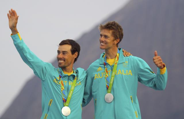 2016 Rio Olympics - Sailing - Victory Ceremony - Men's Two Person Dinghy - 470 - Victory Ceremony - Marina de Gloria - Rio de Janeiro, Brazil - 18/08/2016. Silver medalists Mathew Belcher (AUS) of Australia and William Ryan (AUS) of Australia pose with their medals. REUTERS/Brian Snyder FOR EDITORIAL USE ONLY. NOT FOR SALE FOR MARKETING OR ADVERTISING CAMPAIGNS.