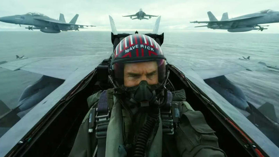 Three decades after he first played the titular pilot, Tom Cruise is back in the cockpit for this belated sequel, directed by <em>Tron: Legacy</em>'s Joseph Kosinski. Miles Teller plays the son of Maverick's late comrade Goose. (Credit: Paramount)