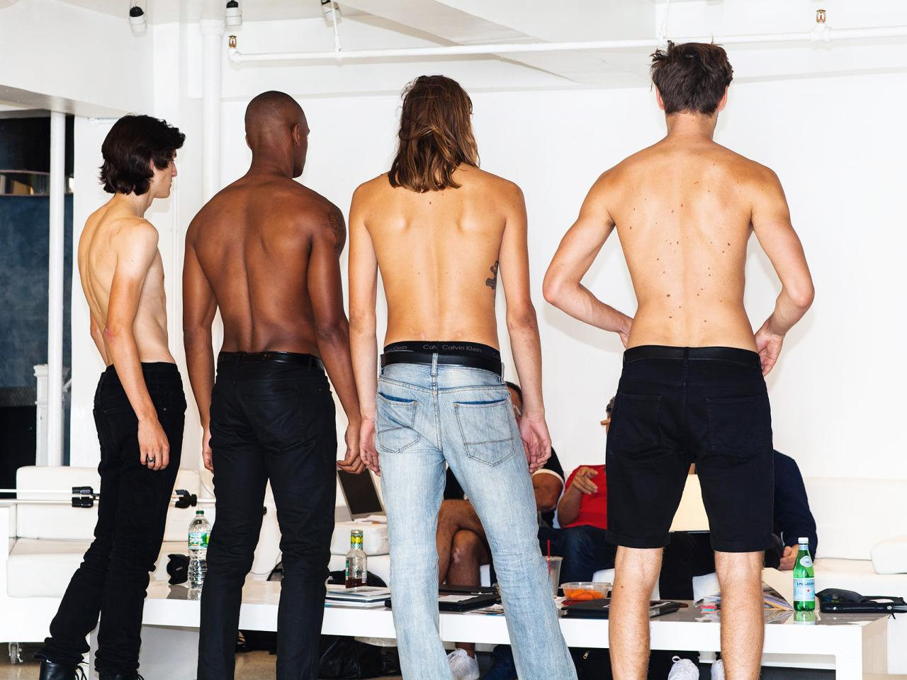 """<p>In groups of four, the models introduce themselves to the designers and casting director. EitherRonen Jehezkel or Parke Lutter will ask preliminary questions: """"Where are you from?"""" What's your ethnicity?"""" """"Do you go to the gym?""""(Photo: <a href=""""http://zakkrevitt.format.com/"""">Zak Krevitt</a> and <a href=""""http://www.thomasrichardmccarty.com/2016"""">Thomas McCarty</a> for Yahoo Style)</p>"""