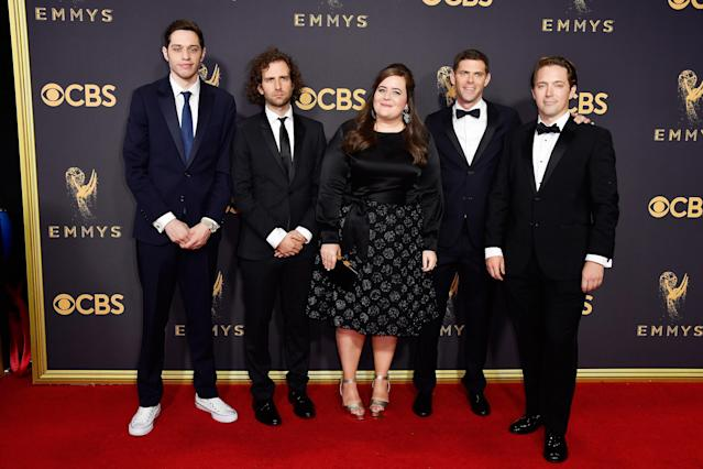 <p>Actors Pete Davidson, Kyle Mooney, Aidy Bryant, Mikey Day and Beck Bennett attend the 69th Primetime Emmy Awards on Sept. 17, 2017.<br> (Photo: Getty Images) </p>