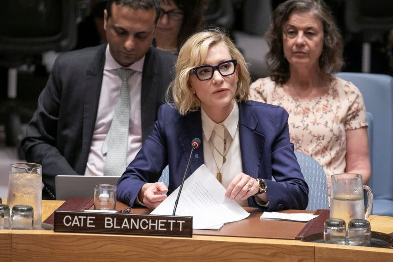 Cate Blanchett, Goodwill Ambassador for UNHCR, speaks at the United Nations Security Council in New York
