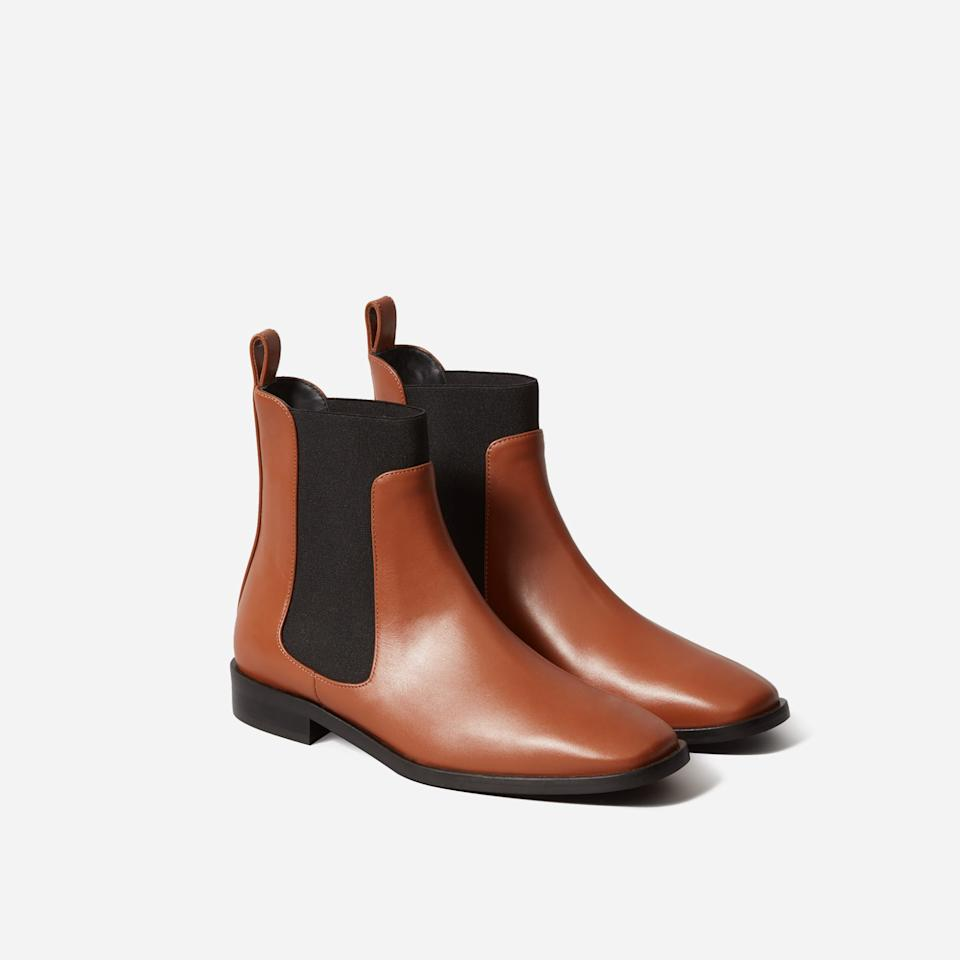 Save 40% on The Square Toe Chelsea Boot. Image via Everlane.
