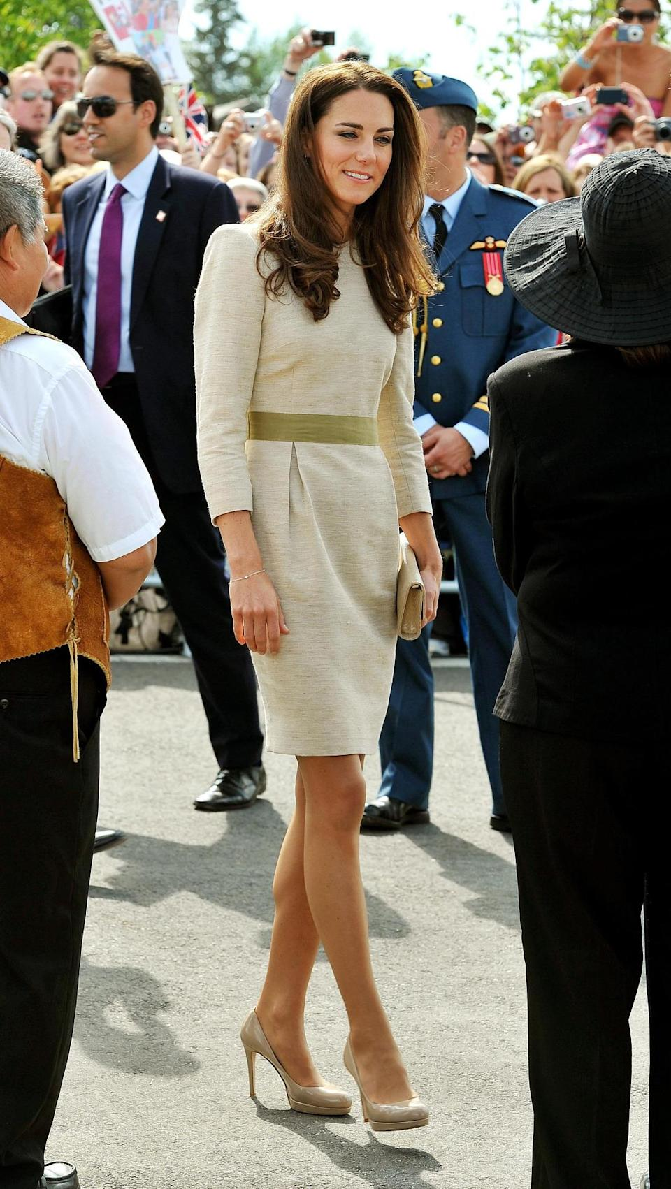 <p>Kate was welcomed into Canada in a champagne-coloured dress by Malene Birger. As usual, nude L.K. Bennett accessories topped off the look. </p><p><i>[Photo: PA]</i></p>