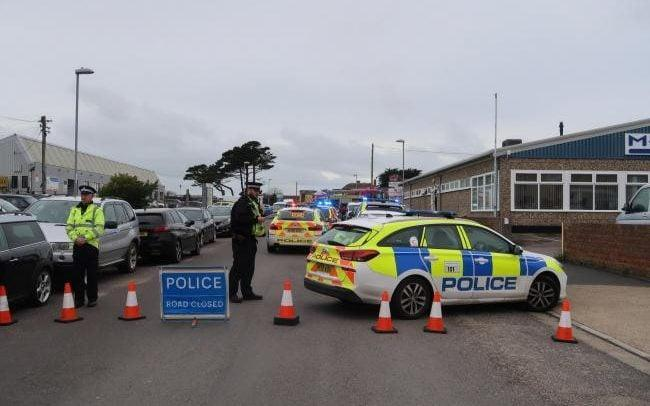 The scene of the accident in Weymouth, Dorset - BNPS