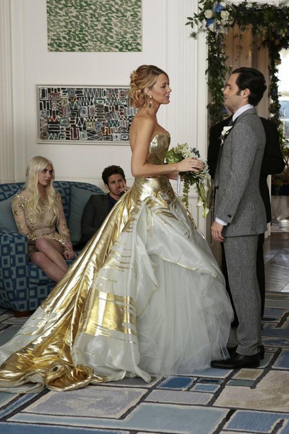 "<p>Following in B's footsteps, Serena also got hitched to none other than Dan, who was revealed as the show's titular character in the series finale. She opted for a strapless gold, metallic, and white tulle dress from <a href=""http://www.elleuk.com/fashion/celebrity-style/articles/g5328/blake-lively-weds-in-gold-georges-chakra/"" rel=""nofollow noopener"" target=""_blank"" data-ylk=""slk:designer Georges Chakra"" class=""link rapid-noclick-resp"">designer Georges Chakra</a> in the final episode.</p>"