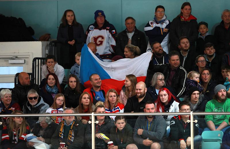 Petr Cech fans in the stands during the NIHL2 match at Guildford Spectrum Leisure Complex, Guildford. (Photo by Ian Walton/PA Images via Getty Images)