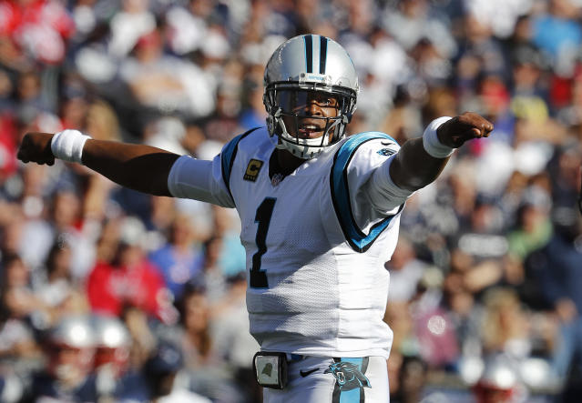 Cam Newton's rough week will continue on the field in Sunday's tilt versus the Lions. (AP)