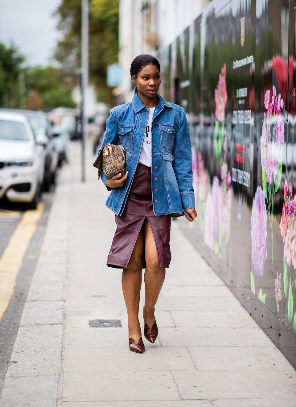 <p>This look is for the woman with an eye for casual glamour. Pairing your jean jacket with a chic leather skirt and pumps is the key to sophistication. This look is perfect for a business casual setting or a friendly brunch. </p>