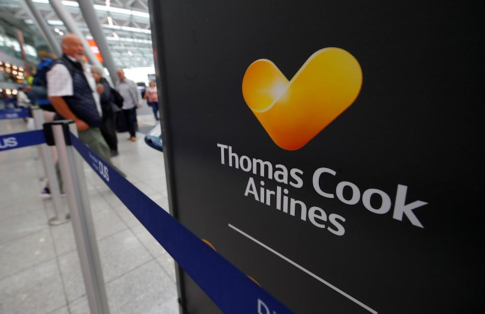 The Thomas Cook Airlines logo is seen at Duesseldorf Airport, Germany September 23, 2019.  REUTERS/Wolfgang Rattay