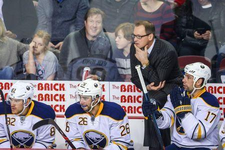 Dec 10, 2015; Calgary, Alberta, CAN; Buffalo Sabres head coach Dan Bylsma on his bench against the Calgary Flames during the second period at Scotiabank Saddledome. Mandatory Credit: Sergei Belski-USA TODAY Sports / Reuters Picture Supplied by Action Images
