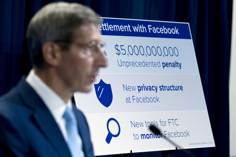 Federal Trade Commission FTC Chairman Joe Simons speaks during a news conference about Facebook settlement at FTC headquarters in Washington, Wednesday, July 24, 2019. (AP Photo/Jose Luis Magana)