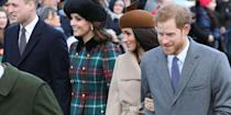 <p>Meghan and Harry linked arms as they greeted crowds who came out to welcome them ahead of the Christmas morning service they attended in Kings Lynn, Norfolk, near the royal family's Sandringham estate. And in a rare PDA of their own, William and Kate were pictured also walking arm-in-arm up to St Mary Magdalene Church.</p>
