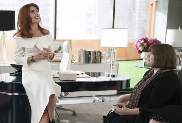 Julianna Margulies as Kitty Montgomery and Joy Nash as Plum Kettle in <em>Dietland</em>. (Photo: Patrick Harbron/AMC)