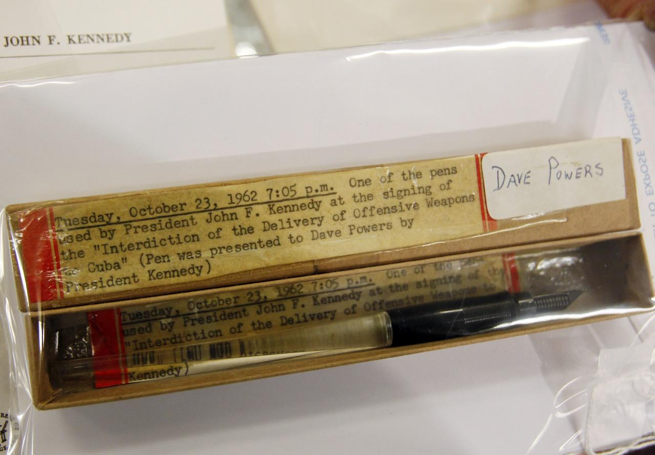 "<p>This pen was used at the signing of the ""Interdiction of the Delivery of Offensive Weapons to Cuba"". The items belonged to David Powers, who was the President's asisstant and friend. He died in 1998 (Reuters)</p>"