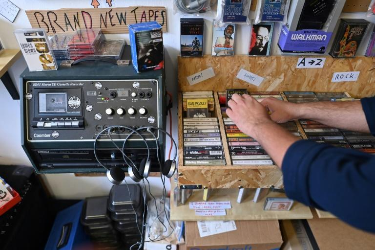 Cassettes are relatively cheap to produce and the shop sells tapes from local indie bands (AFP/PAUL ELLIS)