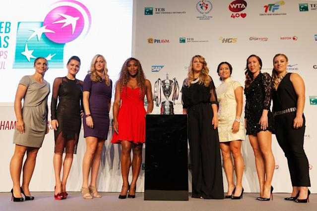 ISTANBUL, TURKEY - OCTOBER 20: (L-R) Sara Errani of Italy, Agnieszka Radwanska of Poland, Petra Kvitova of Czech Republic, Serena Williams of USA, Victoria Azarenka of Belarus, Li Na of China, Jelena Jankovic of Serbia, Angelique Kerber of Germany pose at the Draw Ceremony during the previews of the TEB BNP Paribas WTA Championships at the Renaissance Polat Istanbul Hotel on October 20, 2013 in Istanbul, Turkey. (Photo by Dean Mouhtaropoulos/Getty Images)