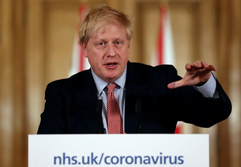 FILE PHOTO: British PM Johnson addresses coronavirus outbreak at Downing Street in London