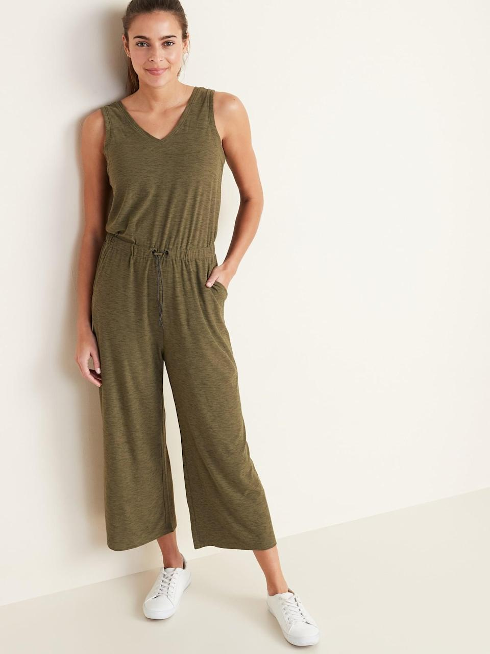 <p>This <span>Old Navy Breathe ON V-Neck Wide-Leg Jumpsuit</span> ($40, originally $45) in green is a cool choice.</p>