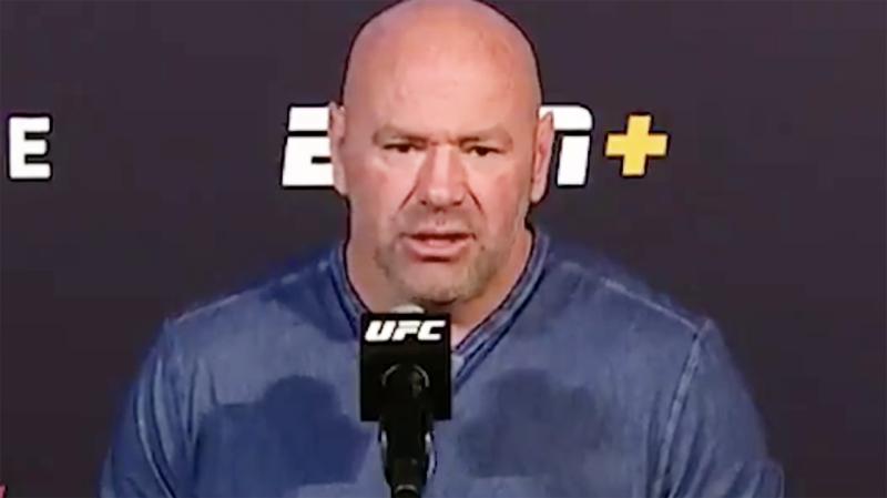 UFC president Dana White says any employee of his, fighter or otherwise, who approaches a referee or judged will be fired 'on the spot' after a pair of nasty incidents sparked outrage in the MMA world. Picture: ESPN/UFC