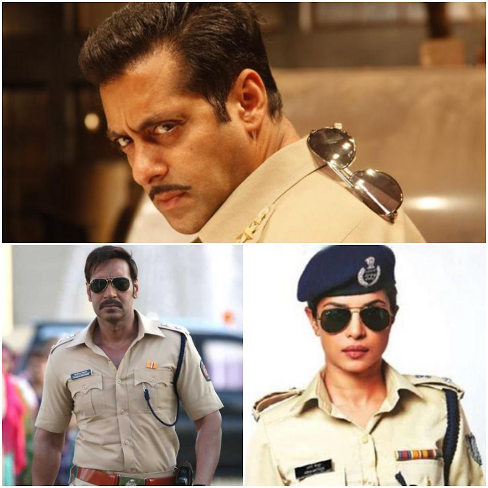 Crooked or clean, the contemporary filmi cop needs 'em aviators to round off the look. Stills from Dabangg (2010), Jai Gangaajal (2016) and Singham Returns (2014)