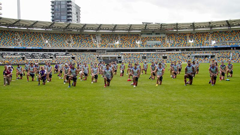 Pictured here, the powerful show of unity from Lions players at the Gabba.
