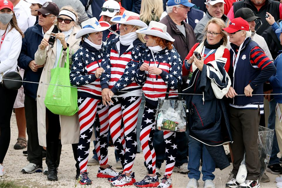 Fans dressed in cowgirl hats look on during practice rounds prior to the 43rd Ryder Cup