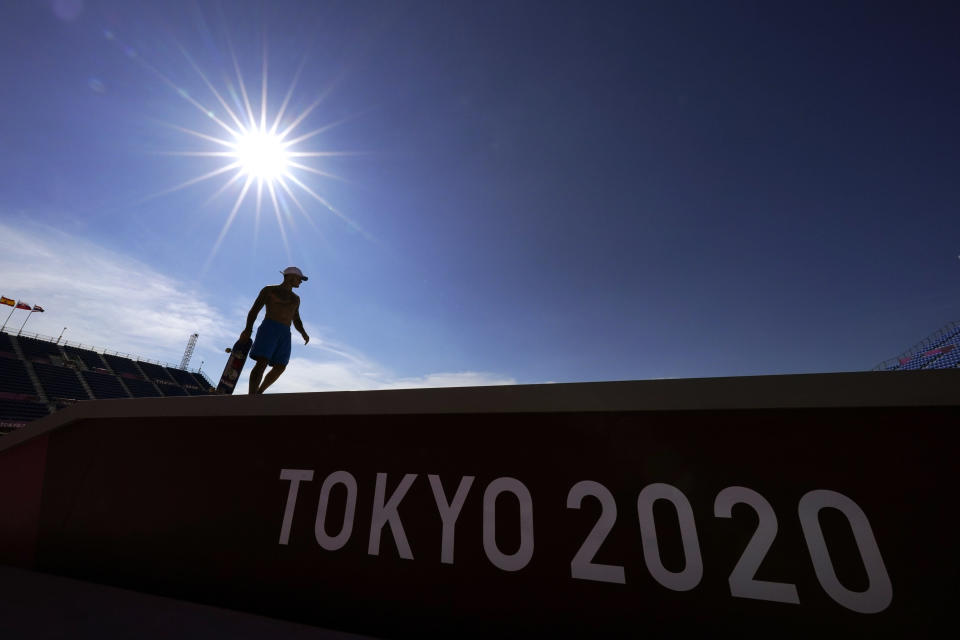 France's Aurelien Giraud trains during a street skateboarding practice session at the 2020 Summer Olympics, Wednesday, July 21, 2021, in Tokyo, Japan. (AP Photo/Gregory Bull)