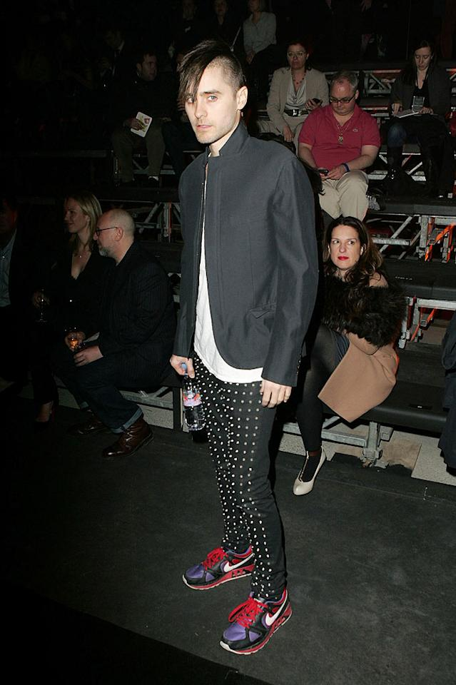 "Jared Leto's kooky dress sense was out in full force at the Lanvin show. It looks like you could get a nice massage from those bumpy pants! Tony Barson/<a href=""http://www.wireimage.com"" target=""new"">WireImage.com</a> - March 5, 2010"