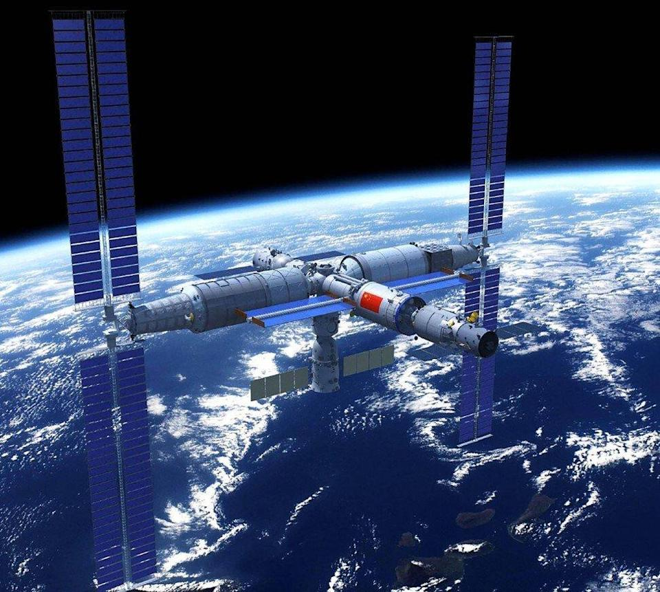 An artist's impression of China's Tiangong Space Station. Illustration: Weibo
