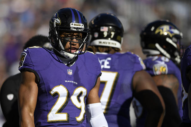 FILE - In this Sunday, Jan. 6, 2019 file photo, Baltimore Ravens cornerback Marlon Humphrey (29) walks on the field in the first half of an NFL wild card playoff football game against the Los Angeles Chargers in Baltimore. The strength of Baltimores defense is a secondary led by safety Earl Thomas, signed as a free agent to replace the departed Eric Weddle. The loss of nickel back Tavon Young to a neck injury should hurt, but cornerbacks Marlon Humphrey, Brandon Carr and Jimmy Smith, along with strong safety Tony Jefferson, will provide ample coverage downfield. (AP Photo/Nick Wass, File)