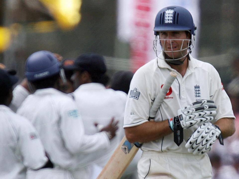 Michael Vaughan after being dismissed at Galle in December 2007 (AFP via Getty Images)