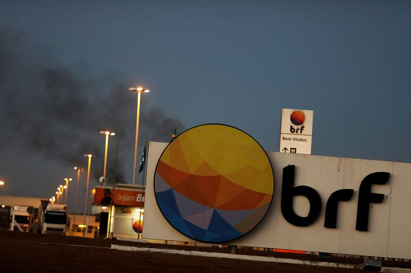 FILE PHOTO: Meatpacking company BRF SA's logo is pictured in Lucas do Rio Verde