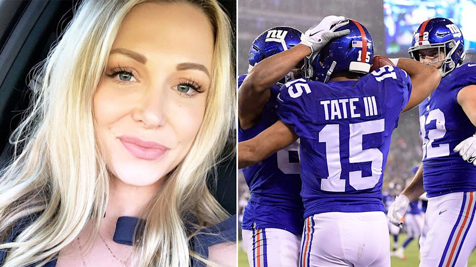Seen here, Elise Tate launched a stinging criticism of the New York Giants on Instagram.