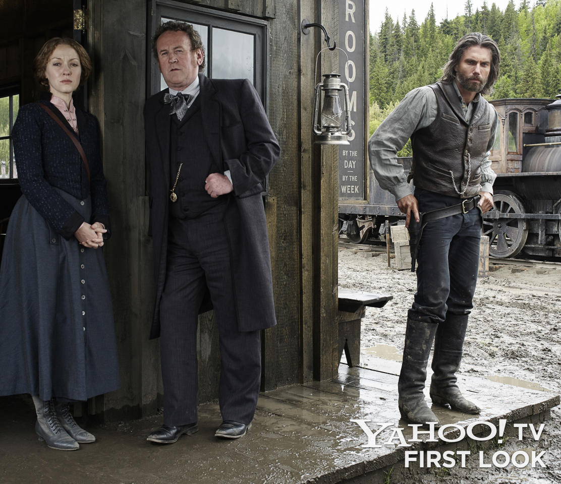 "Louise Ellison (Jennifer Ferrin), Thomas 'Doc' Durant (Colm Meaney) and Cullen Bohannon (Anson Mount) in AMC's ""Hell on Wheels"" Season 3."