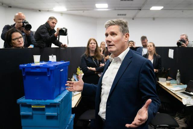 Labour leader Sir Keir Starmer talks to the press at the Labour Party conference in Brighton